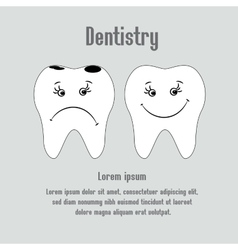 Sad aching tooth and cheerful healthy tooth vector
