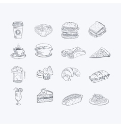 Food and drink hand drawn artistic sketch set vector