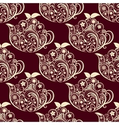 Seamless floral teapot pattern vector