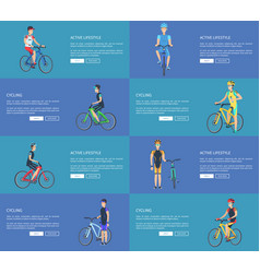 active lifestyle posters set with man on bicycle vector image