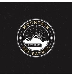 Camping label vintage mountain ski patrol round vector