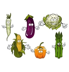 Cartoon organic farm vegetables characters vector