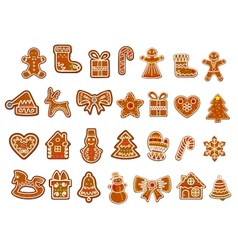 Christmas figure cookies collection vector image vector image