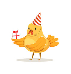 Cute cartoon chicken in a party hat standing and vector