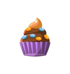 Cute cupcake with candy vector