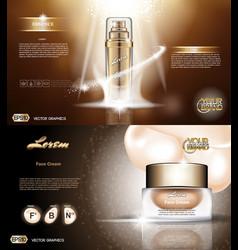 Digital golden glass bottle spray essence vector