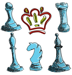 Drawn colored chess vector