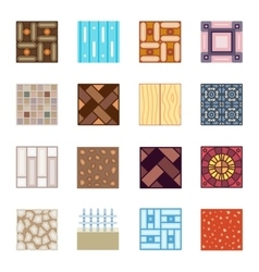 Floor materials flat icons tiles vector