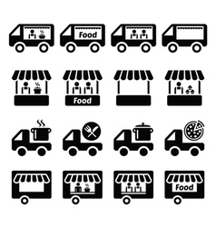 Food truck food stand and food trailer icons set vector image vector image