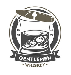 gentleman vintage label with cigar vector image