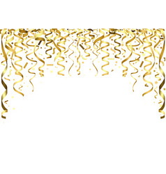 Golden falling confetti and ribbons vector