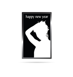 Happy new year with white girl vector