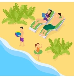 Isometric family on vacation template vector