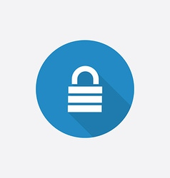 lock Flat Blue Simple Icon with long shadow vector image vector image