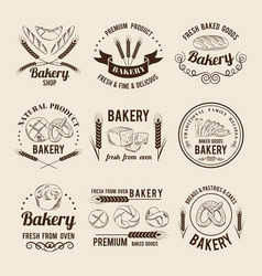 monochrome set of bakery shop logos or vector image vector image