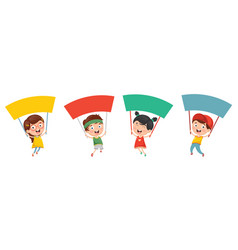 of kids holding placard vector image vector image