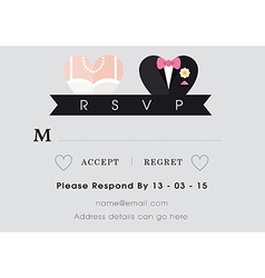 RSVP Wedding card heart theme vector image vector image