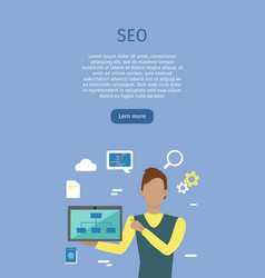 seo conceptual web banners in flat style vector image vector image
