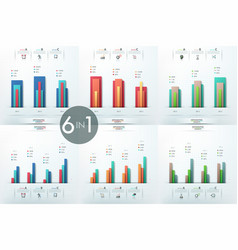 Set of 6 infographic design templates with vector