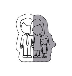 silhouette family with their dougther icon vector image vector image