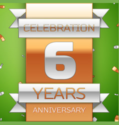 Six years anniversary celebration design vector