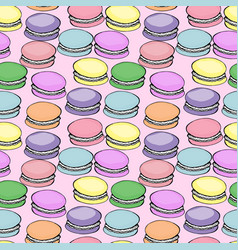 Sweet delicious watercolor pattern with macarons vector