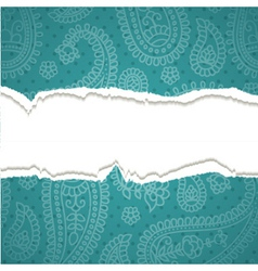 Torn paper with a paisley pattern vector image