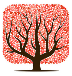 tree with red leaves vector image vector image