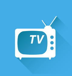Tv icon in flat style isolated on blue background vector