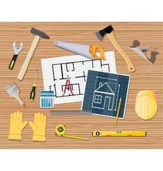 Workplace carpenter projecting building repair vector