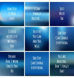 Set of square blue backgrounds with motivational vector