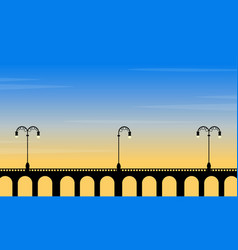 At sunset bridge scenery with street lamp vector