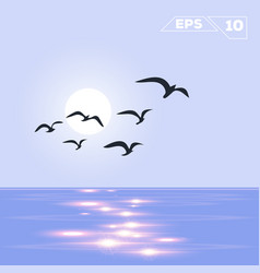ocean on day with birds vector image