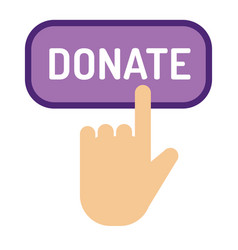 Donate button help icon vector