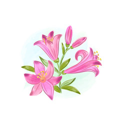 Beautiful gift card with pink watercolor lilies vector