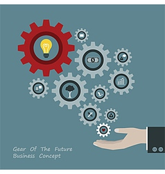 Gear of successful concept in businessman hand vector
