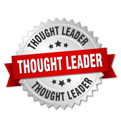 Thought leader round isolated silver badge vector
