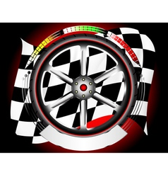 Wheel alloy emblem with race flag vector