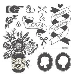 Wedding set of vintage design elements vector