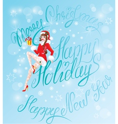 Brunette pin up christmas girl wearing santa claus vector
