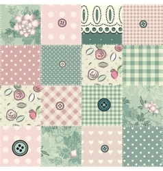 Seamless patchwork in shabby chic style vector