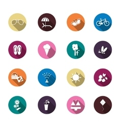 Set of summer colorful icons vector image