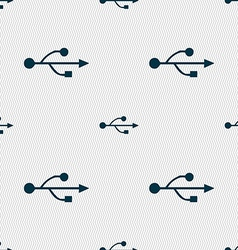 Usb icon sign seamless pattern with geometric vector