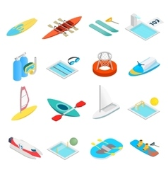 Water sport isometric 3d icons vector