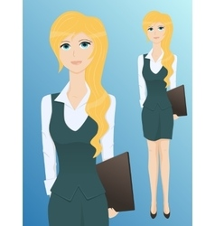 Pretty young business woman with a folder vector