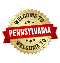 Pennsylvania 3d gold badge with red ribbon vector