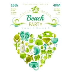 Beach party invitation in green lima and mint vector