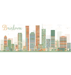 Abstract brisbane skyline with color buildings vector