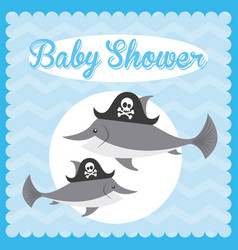 Animal cute baby shower invitation vector