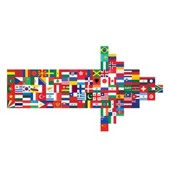 arrow made of flag icons vector image vector image